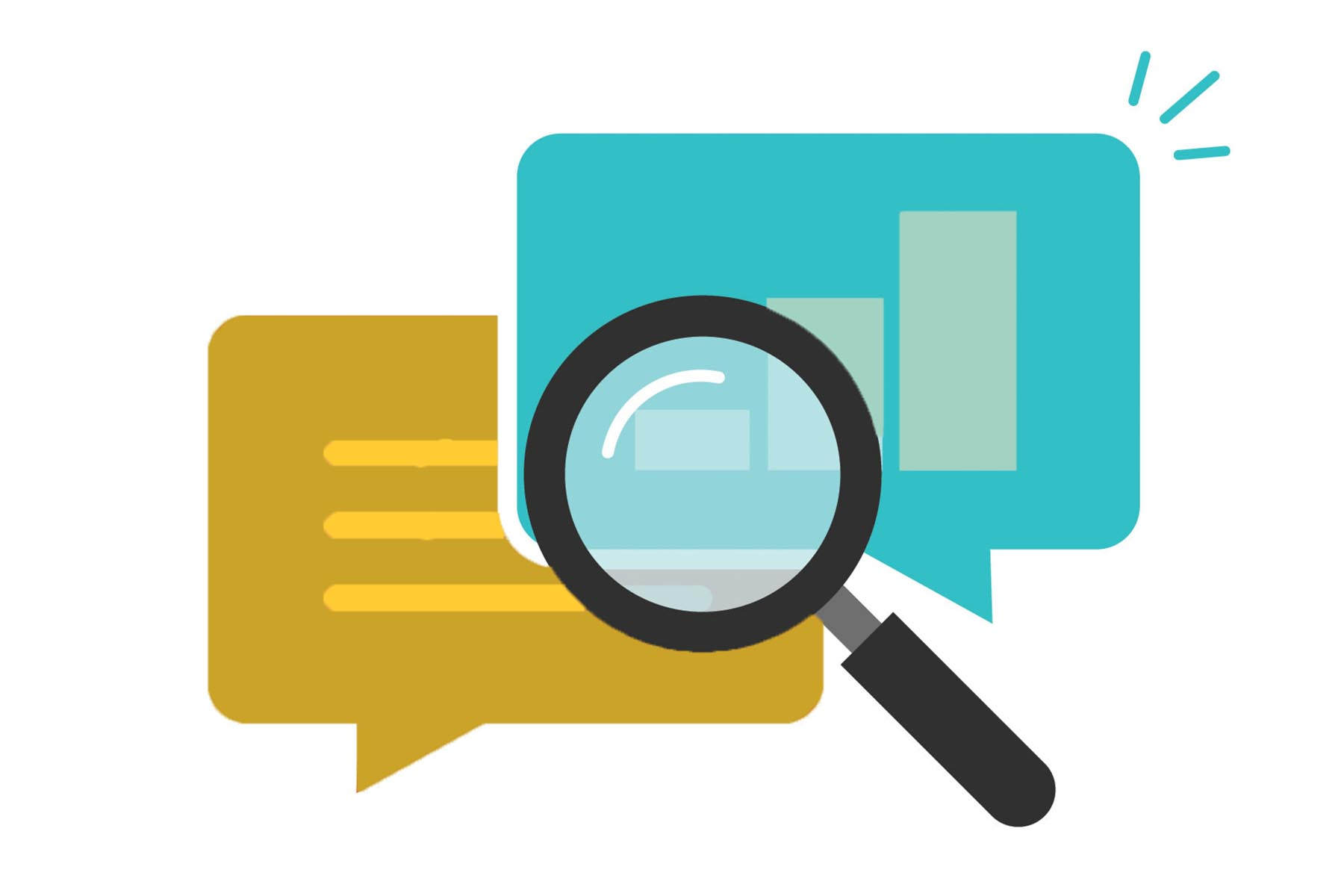 SEO symbol illustration - magnifying glass, speech bubble containg graphs and data